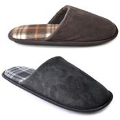 Mens Check Inner Sock Mule Slippers