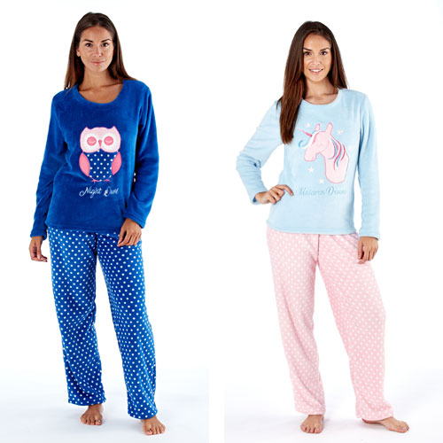 Ladies Fleece Pyjama Set Owl/Unicorn