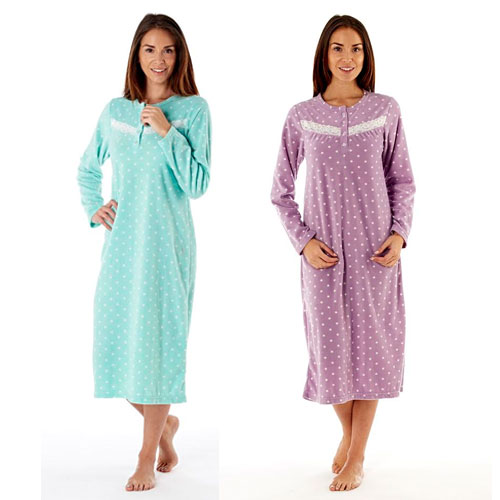 Ladies Spot Print Fleece Nightdress Aqua/Lilac