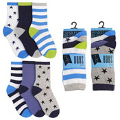Boys Broad Stripes & Stars Design Socks