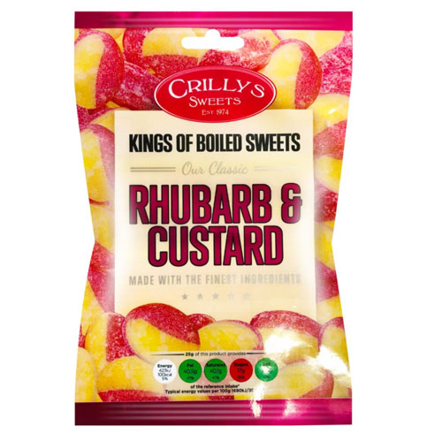 Rhubarb And Custard Crillys Sweets 130g Bag