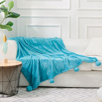 Pom Pom Faux Mink Throw Printed Teal