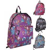 Flower Print Backpack With Zip Pocket