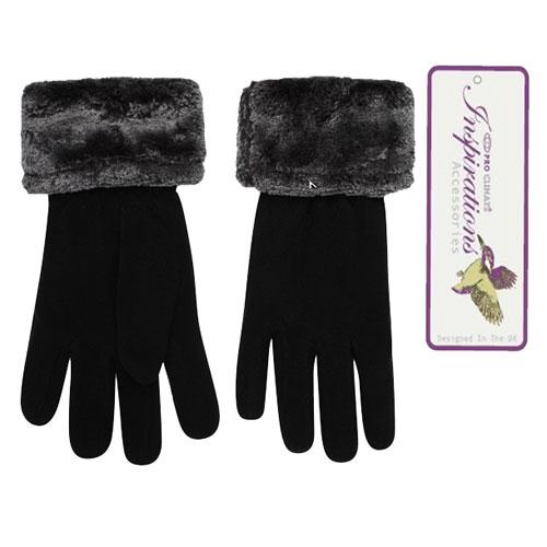 Ladies Black Fleece Gloves With Fur Trim