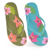 Ladies Flower Print Flip Flop