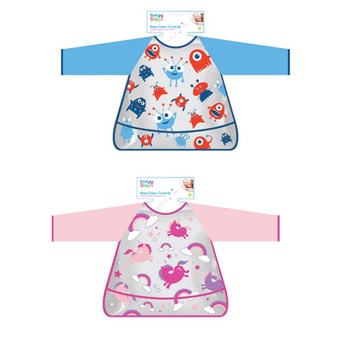 First Steps Wipe Clean Coverall With Novelty Prints