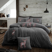 Stag Embroidered Soft Teddy Feel Duvet Set Charcoal