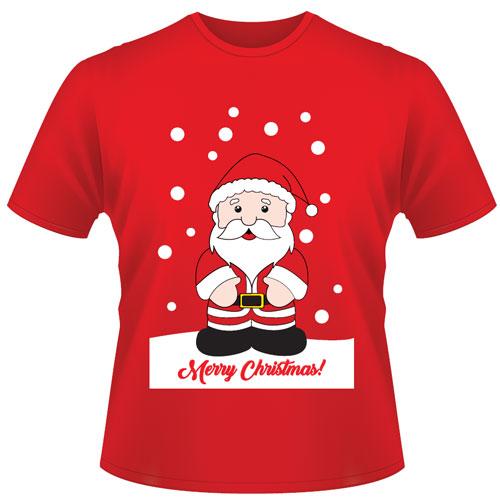 Childrens Christmas T-Shirt Santa Red