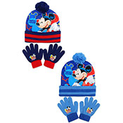 Official Boys Mickey Mouse Blue Bobble Hat & Gloves Set