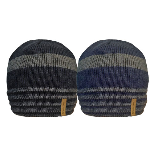Mens 2 Tone Stripe Beanie Hat With Rib Cosy Fleece Liner