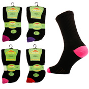 Extra Wide Diabetic Ladies Socks Coloured Heel & Toe