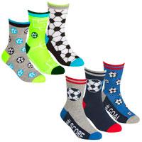 Boys 3 Pack Socks Football Design