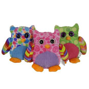 Plush Owls Sparkle Eye 3 Assorted