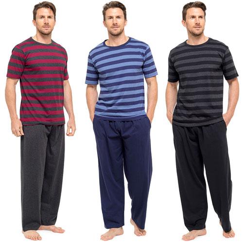 Mens Striped Jersey Pyjama Set