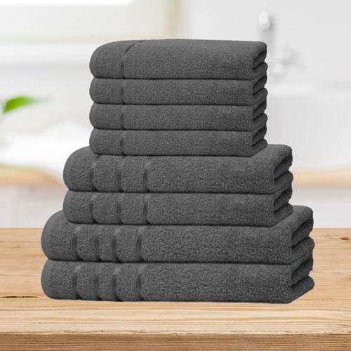 Bear & Panda 8 Piece Cotton Towel Bale Dark Grey