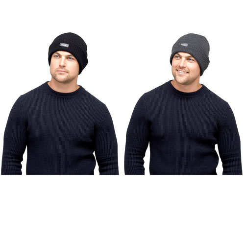 Mens Ribbed Thinsulate Thermal Knitted Hat