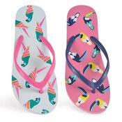Ladies Toucan & Parrot Print Flip Flop