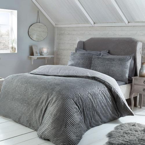 Sparkle Ribbed Fleece Duvet Set Grey