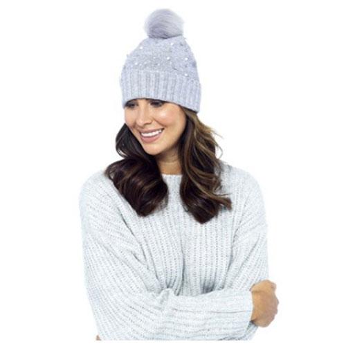 Ladies Studded Bobble Hat With Pom Pom