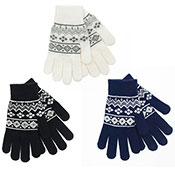 Ladies Fairisle Gloves With Glitter