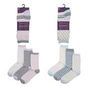 Ladies Dots/Stripes Design Cotton Rich Socks 3 Pack