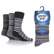 Mens Honeycomb Top Gentle Grip Socks Striped Gray