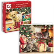 Traditional Christmas Cards Puppy & Kitten