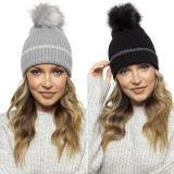 Ladies Silver Stripe Bobble Hat
