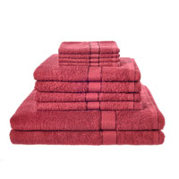 10 Piece Luxury Towel Bale Set With Ribbon Burgundy
