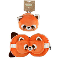 Cutiemals Red Panda Round Travel Pillow And Eye Mask