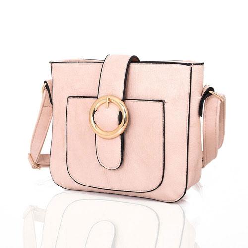 Simone Round Buckle Crossbody Bag Pink