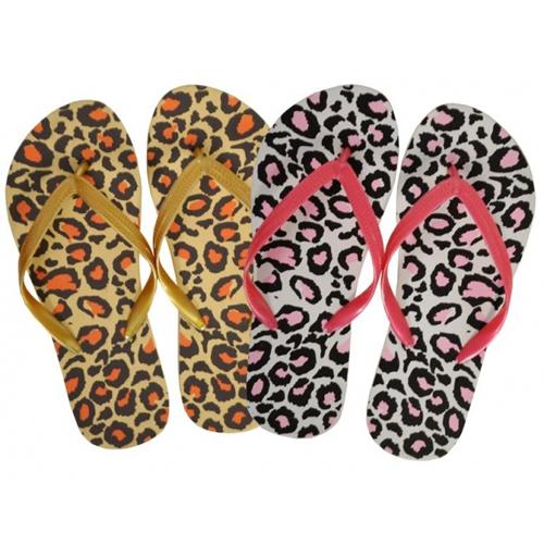 Ladies Assorted Flip Flops Animal Print