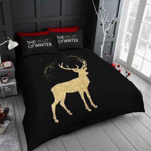Glitter Stag Christmas Duvet Set