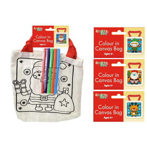 Christmas Colour In Canvas Bags