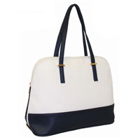 Ladies Contrast Tote Shopper Bag White - Navy