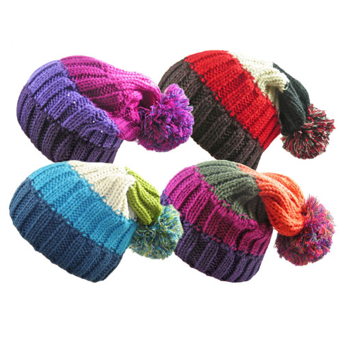 Ladies Knitted Four Colour Bobble Hat With Slouch Pom Pom