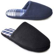 Mens Check Inner Sock Mule Slippers Navy & Black