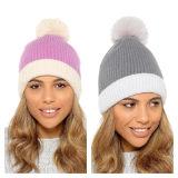 Ladies Striped Knit Bobble Hat
