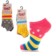 Sport City Trainer Socks Stripes and Stars
