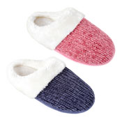 Ladies Soft Knit Chenile Mule Slippers