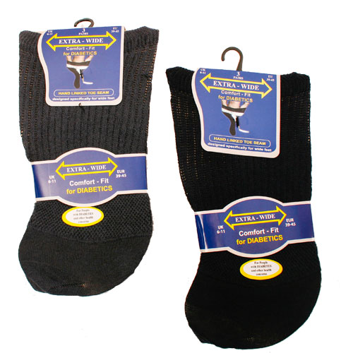 Extra-Wide Comfort fit Diabetic Socks Darks
