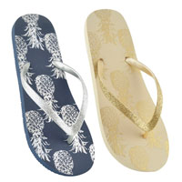 Ladies Pineapple Flip Flop With Glitter Strap