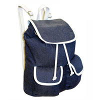 Contrast Edge Denim Look Rucksack Dark Blue White