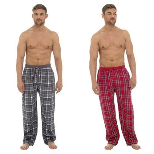 Mens Printed Check Lounge Pants Grey/Red