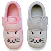 Childrens Soft Assorted Slippers Cat Pink/Grey