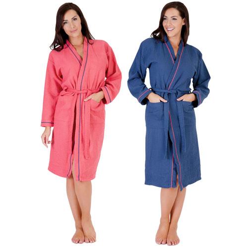 Ladies Coral/Blue Waffle Robe
