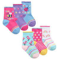 Baby Girls 3 Pack Flamingo And Bee Socks