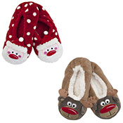 Ladies Christmas Slipper Socks Santa/Reindeer