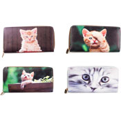 Ladies Card And Coin Purse With Digital Cat Prints
