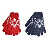 Ladies Snowflake Design Chenille Gloves
